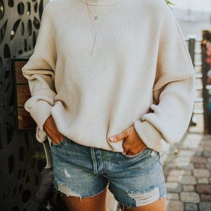 FREE PEOPLE EASY STREET TUNIC SWEATER WHITE L